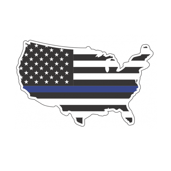 Police Thin Blue Line American Flag USA Decal Sticker