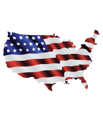 Waving American Flag USA Outline Decal Sticker