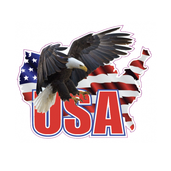 USA, American Flag and Eagle Decal Sticker