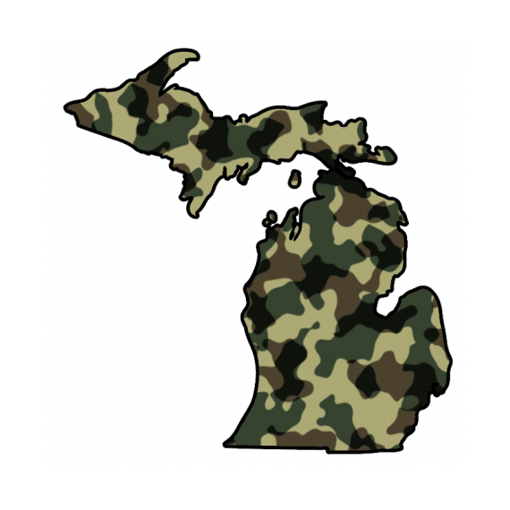 State of Michigan with Camouflage Background Decal Sticker